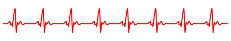 Sign heart pulse, one line, cardiogram - stock vector