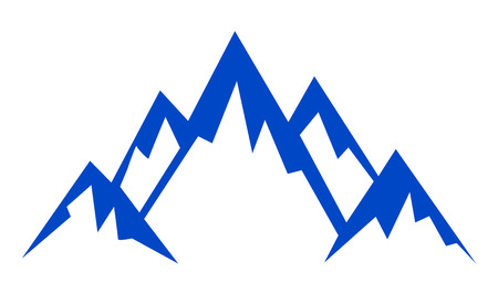 Silhouette blue mountain on white background – vector