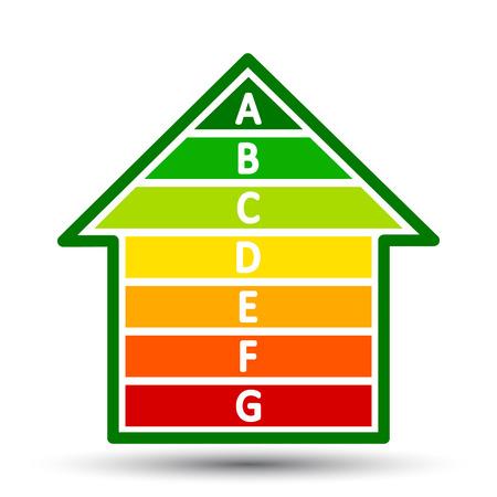 Energy efficient house concept with classification graph – for stock Vektoros illusztráció