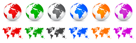 Set 3D Vector Globes with World Maps - vector