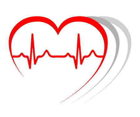 Heart pulse, one line, cardiogram, heartbeat - stock vector Çizim