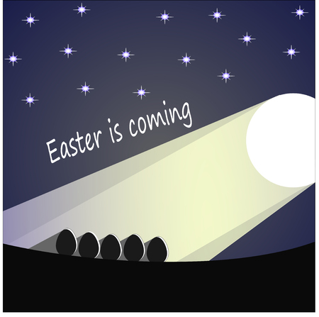 Easter is approaching expectations. Easter eggs in the moonlight under the stars