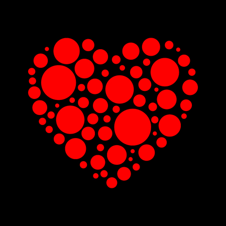 Heart of layers on a black background - vector