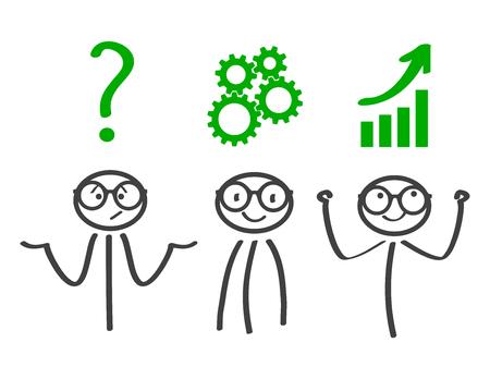 Decision problem, solving process, generator ideas, succeed - vector