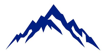 Silhouette blue mountain on white background – for stock Illustration