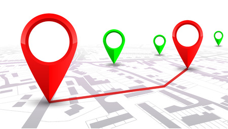 Red GPS navigator pointer on city map, from place to place – for stock Stock Illustratie