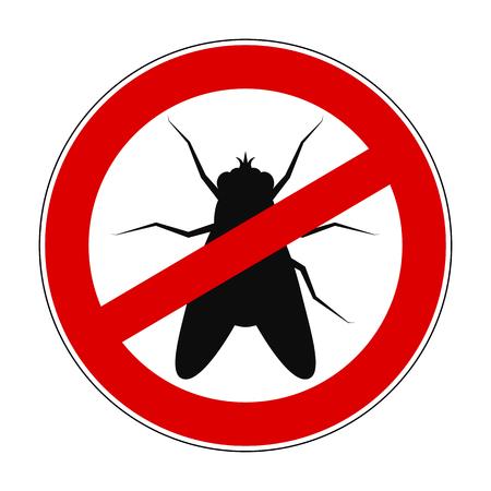 Sign ban anti fly - stock vector Stock Vector - 102553228