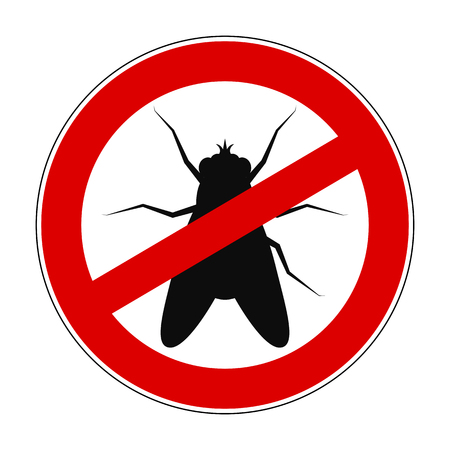 Sign ban anti fly - stock vector Illustration
