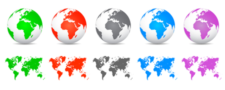 Set 3D Vector Globes with World Maps - stock vector