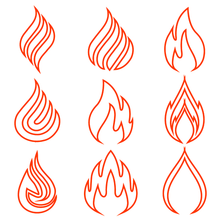 Set of fire, one line- stock vector