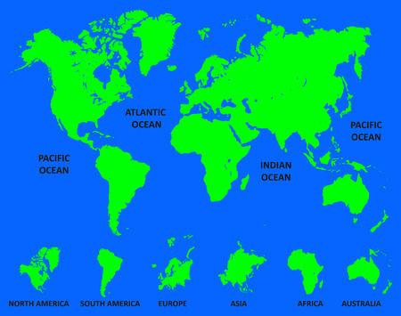 World Map with division of continent - vector