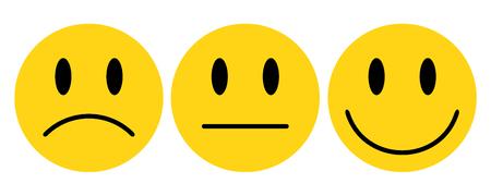 Three yellow smilies - vector 일러스트