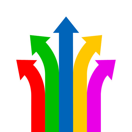 Group colored arrows directed upwards - vector Illustration