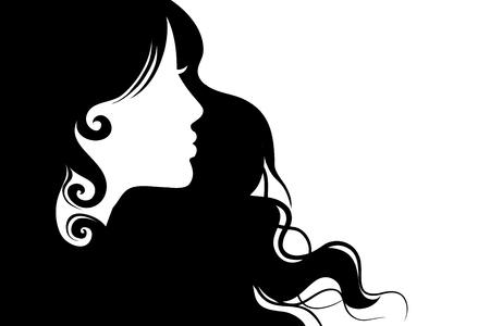 Silhouette hair girl, salon – stock vector