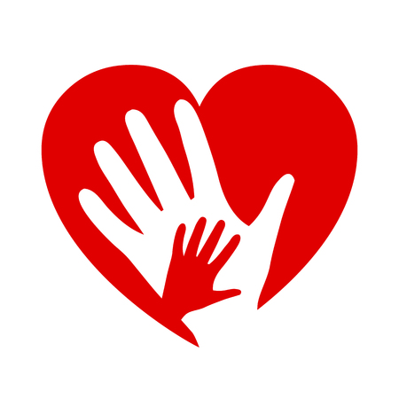 Two hands on heart, charity icon, organization of volunteers, family community – for stock