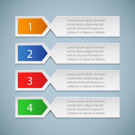 Set of bookmarks, stickers, labels, tags. Numbered banners. Business steps infographics template – stock vector