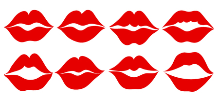 Set imprint kiss lips – stock vector