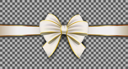 White ribbon. Gift decoration - stock vector