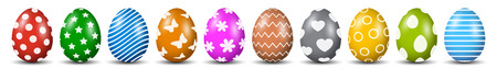 Ten Easter eggs, collection of colored eggs, Easter symbol - stock vector