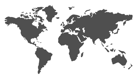 Gray World Map illustration - stock vector