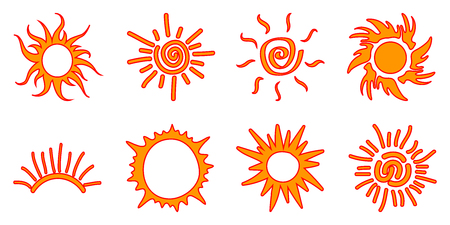 Collection of drawn sun icons, one line - stock vector