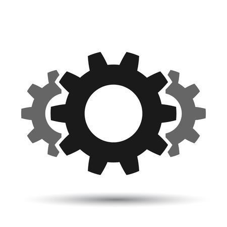 Teamwork, staff, partnership, gear icon mechanism - vector