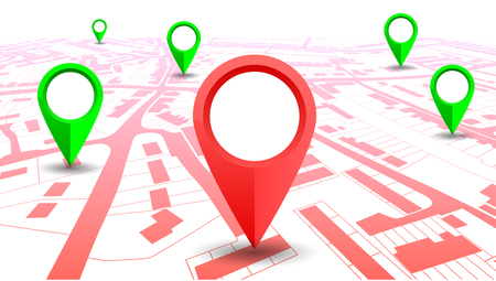GPS navigator pointer on city map – vector for stock Фото со стока - 102794931
