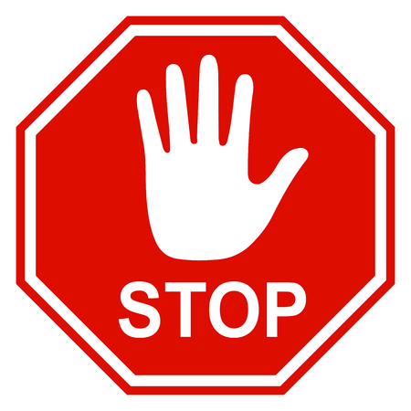 Stop sign icon with hand - vector