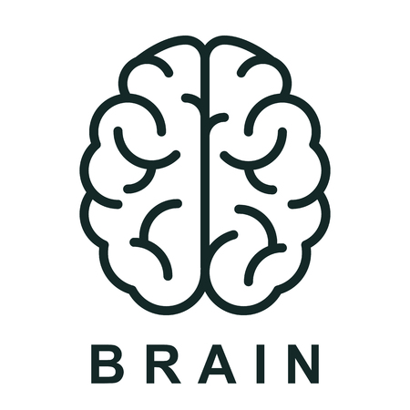 Menschliches Gehirnikone mit neuronalen Bindungen - Aktienvektor Vektorgrafik