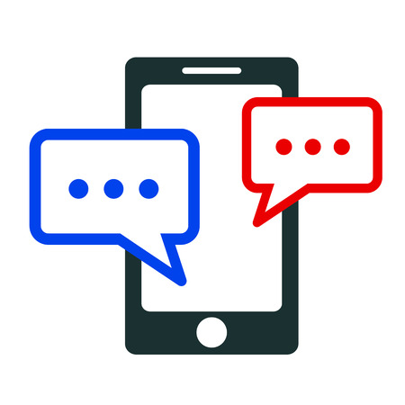Chat icon with smartphone - stock vector
