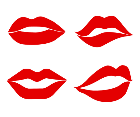 Set imprint kiss lips – vector Illustration