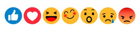 Set of Emoticons. Emoji social network reactions icon. Yellow smilies, set smiley emotion, by smilies, cartoon emoticons - stock vector Illustration