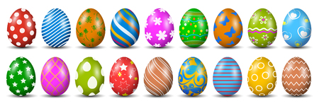 Eighteen Easter eggs, collection of colored eggs, Easter symbol - vector