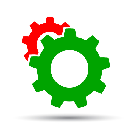 Two gear icon mechanism - vector