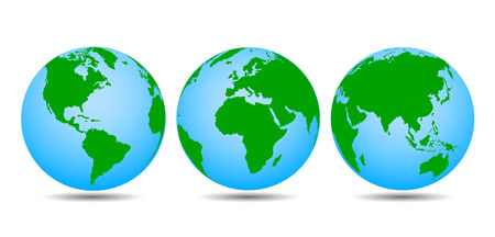 Globes with continents - vector for stock