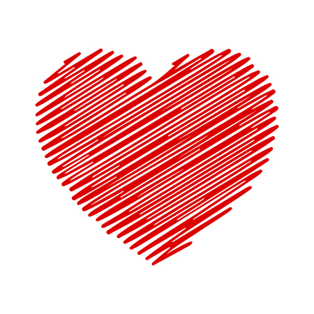 Hand painted red heart - stock vector