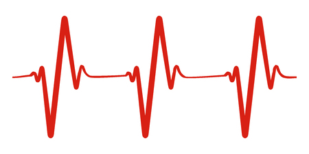 Heart pulse, one line, cardiogram - vector for stock Иллюстрация