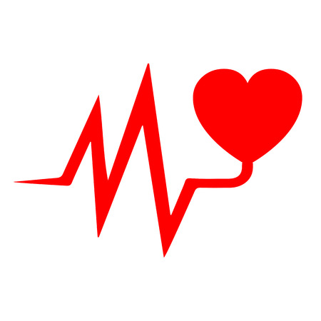 Heart pulse, one line, cardiogram - vector illustration Иллюстрация