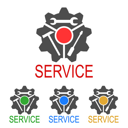Logo service with key, screwdriver, hammer - stock vector Иллюстрация