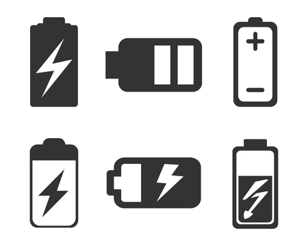Set of battery charge level indicator - vector Illusztráció