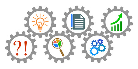 Process of generating ideas, from problem to success - stock vector