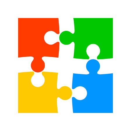 Four color puzzle - vector for stock Иллюстрация