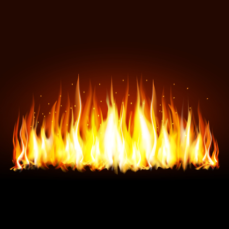 Realistic flame, fire on black background - stock vector Stock Illustratie