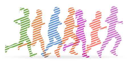 A crowd of people are running - stock vector Иллюстрация