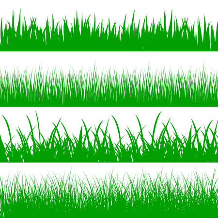 Set green grass on white background - stock vector Illusztráció