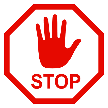 Stop sign icon with hand - stock vector Illustration