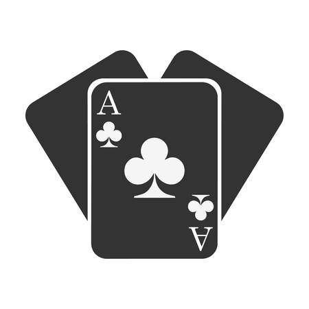 Three black clubs cards. Card suit icon - vector Illusztráció