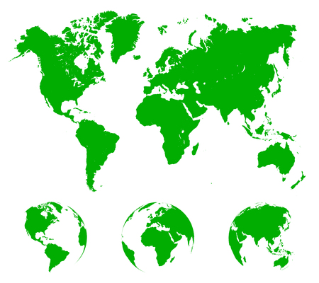 Green World Map with globes - stock vector