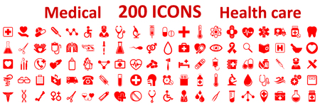 Set Medecine and Health flat icons. Collection health care medical icons – stock vector