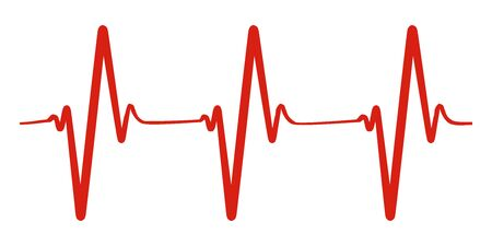 Heart pulse, one line, cardiogram - vector for stock Illustration